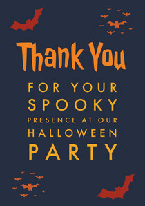 Orange and Black Halloween Spooky Bat Party Thank You Card Scary