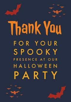 Halloween Spooky Bat Party Thank You Card Halloween Party Thank you Card