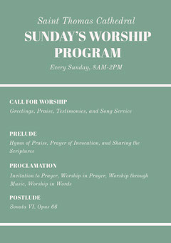 Green Sunday Church Program Flyer Christianity