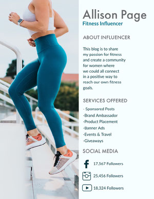 Blue Fitness Influencer Media Kit with Woman Exercising Pressemappe