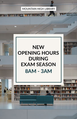 Grey and White Library Opening Hours Poster  Vykort