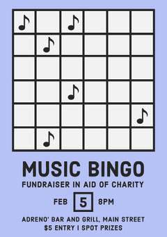 Blue Music Bingo Charity Fundraiser Poster Fundraiser