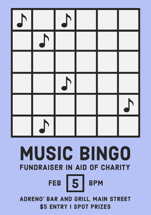 music bingo for charity poster Bingokort
