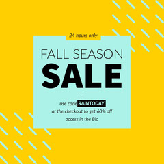 Yellow Autumn Sale Square Instagram Ad with Discount Code Discount