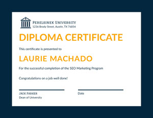 Orange University Course Completion Diploma Certificate Diploma Certificate