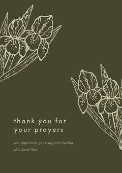 Green and White Thank You Card Funeral