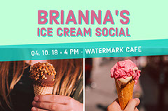 Pink and Blue Ice Cream Ad Facebook Bannet  Ice Cream Social Flyer