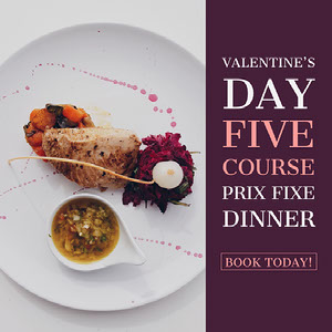 Valentines Day Dinner Restaurant Square Instagram Post Ad with Gourmet Meal Picture Ebook Templates