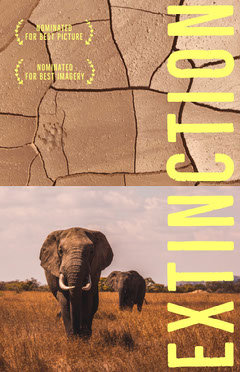 Nature Documentary Movie Poster with Elephants Desert