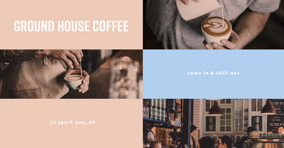 Blue and Pink Coffee Shop Facebook Post Tamaño de Imagen de Facebook