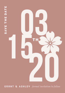 Brown Save the Date Wedding Card with Flower Save the date-kaart