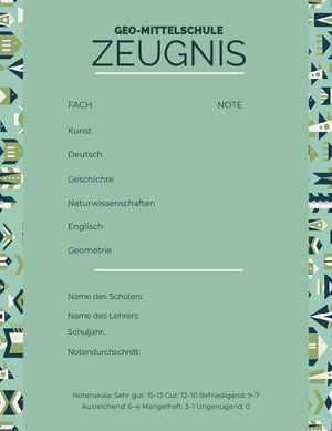 mint green patterned report cards Zeugnis