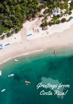 Costa Rica Postcard with Beach Photo Beach