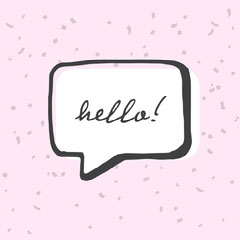 Pink Black and White Animated Hello Cute Instagram Square Hello