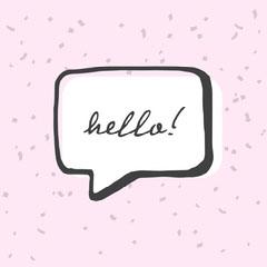 Pink and Black Speech Bubble Hello Instagram Square Hello