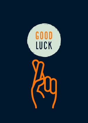 Blue and Orange Good Luck Card Good Luck Card