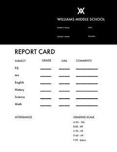 Black and White Empty Report Card Homeschool Report Card