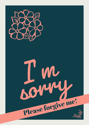 Teal and Orange Floral Sorry Card Sympatikort