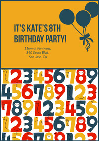 Orange and Colorful Numbers Birthday Party Invitation 誕生会の招待状