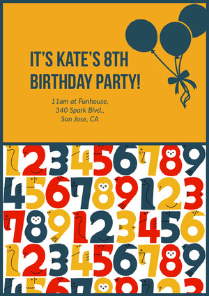 It's Kate's 8th Birthday Party! Invitations