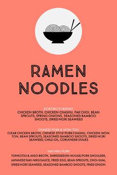 Orange Illustrated Asian Restaurant Ramen Menu Ramen