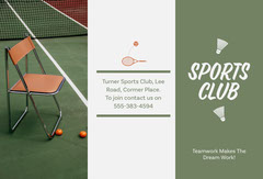 Green Tennis Sports Club Brochure  Tennis