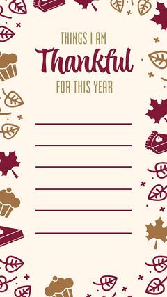 Cream & Burgundy Icons Thankful Instagram Story   Thanksgiving