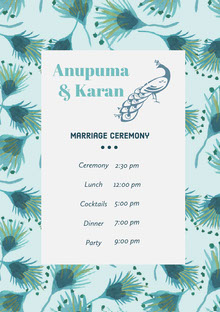 White and Blue Wedding Ceremony Program Wedding Program