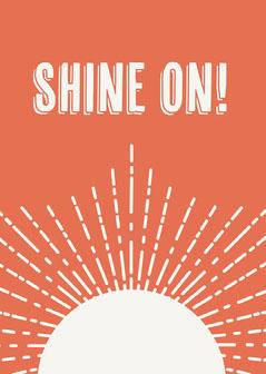 Orange Typography and Sun Sunshine Motivational Card Sun