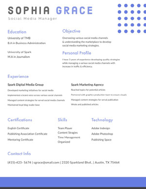 Blue and White Social Media Manager Resume Resume  Examples