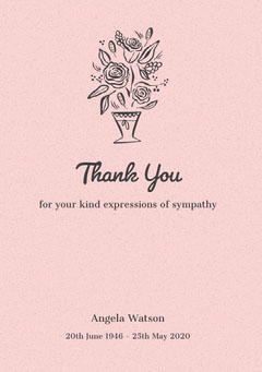 Pink Floral Thank You for Attending Funeral Card Funeral
