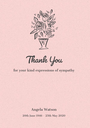 Pink Floral Thank You for Attending Funeral Card Sympatikort