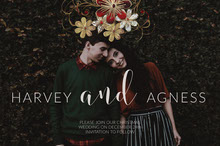Christmas Wedding Save the Date Invitation with Picture of Couple Convite
