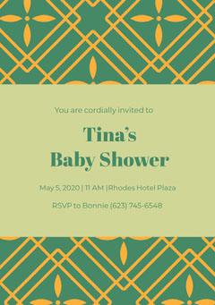 Green and Yellow Baby Shower Invitation Baby Shower (Boy)