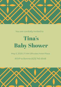 Green and Yellow Baby Shower Invitation Baby Shower