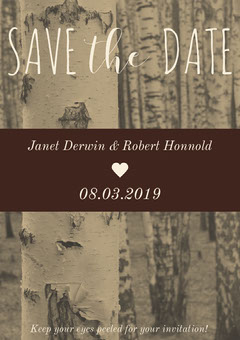 Beige Rustic Save the Date Wedding Invitation Card with Birch Trees Rustic Wedding Invitation