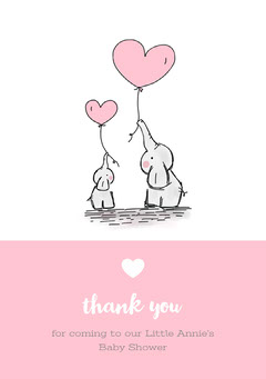 Pink and White Thank You Card Baby Shower (Girl)
