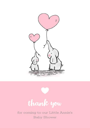 Pink and White Thank You Card Baby Shower Card