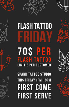 Red Black and White Tattoo Flyer Tattoo Flyer