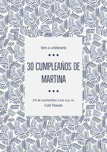 30 cumpleaños de <BR>Martina  Invitación