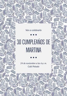 30 cumpleaños de <BR>Martina  Invitación de cumpleaños