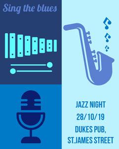 Blue Illustrated Music Instrument Jazz Pub Concert Instagram Portrait Jazz