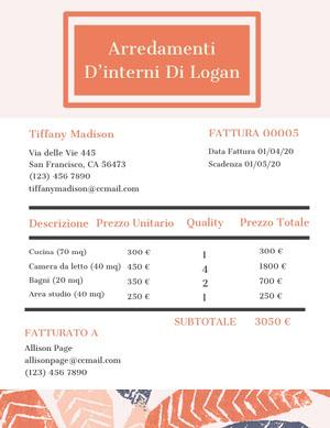 interior design studio invoice  Fattura