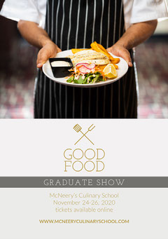 Gold and White Good Food Graduate Show - Flyer A5 College