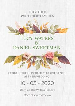 White Wood & Autumn Leaves Wedding A5 Invite Autumn