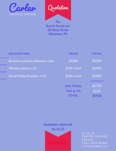 Blue Design Ribbon Business Quotation Tax Flyer