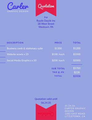 Blue Design Ribbon Business Quotation presupuesto