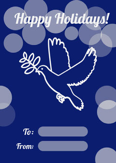 Blue Holiday Gift Tag with Dove Holiday