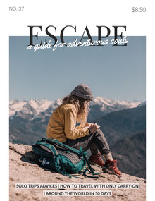 Travel Magazine Cover with Female Hiker in Mountains Magazine Cover