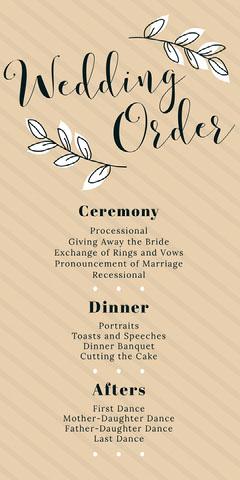 Beige Striped Floral Calligraphy Wedding Program  Rustic Wedding Invitation